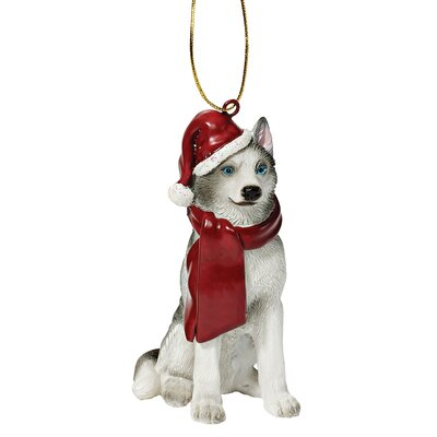 Design Toscano Siberian Huskey Holiday Dog Ornament Sculpture