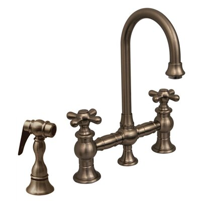"Vintage III 5.25"" Two Handle Widespread Bridge Faucet with Cross Handles and Side Spray Product Photo"
