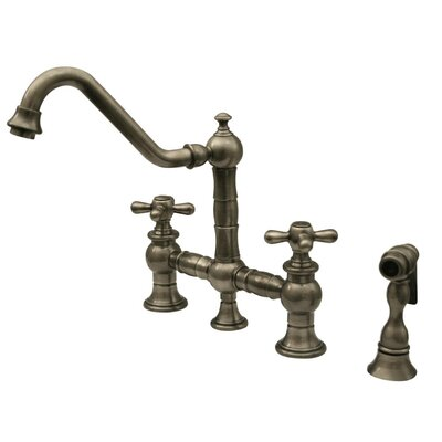 Vintage III Cross Handle Widespread Bridge Faucet with Traditional Swivel Spout, Cross Handle and Side Spray Product Photo