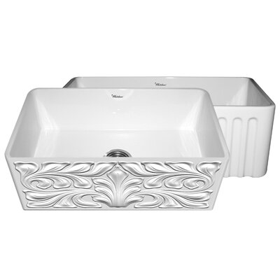 "Gothichaus 30"" x 18"" Reversible Fireclay Kitchen Sink Product Photo"