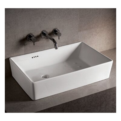 Whitehaus Collection Isabella Rectangular Bathroom Sink with Overflow and Offset Center Drain