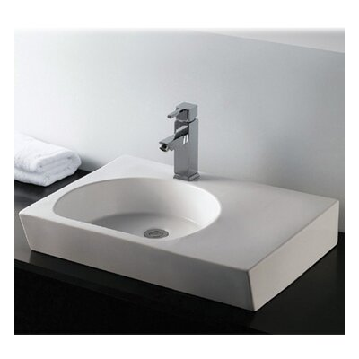 Isabella Rectangular Bathroom Sink with Integrated U-Shaped Bowl by Whitehaus Collection