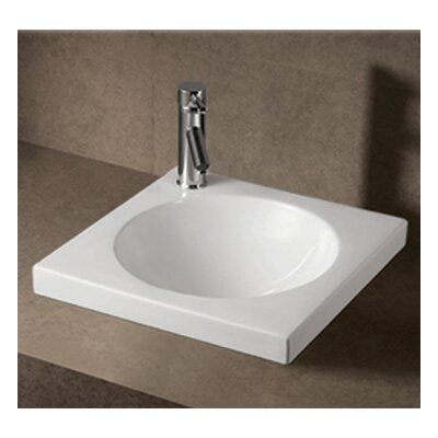 Isabella Square Semi-Recessed Bathroom Sink with Center Drain by Whitehaus Collection