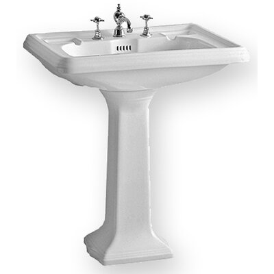 Whitehaus Collection China Large Traditional Pedestal Bathroom Sink with Dual Soap Ledges