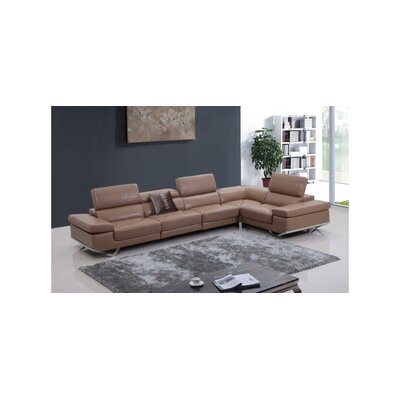 Divani Casa Modern Italian Leather Right Sectional Sofa with Audio System by VIG Furniture