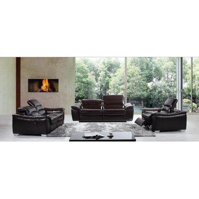 Divani Casa 3 Piece Modern Italian Leather Sofa with Recliner Set by VIG Furniture