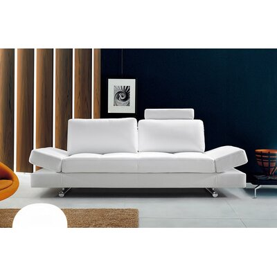 Divani Casa Hymn Leather Convertible Sofa with Adjustable Backrest by VIG Furniture