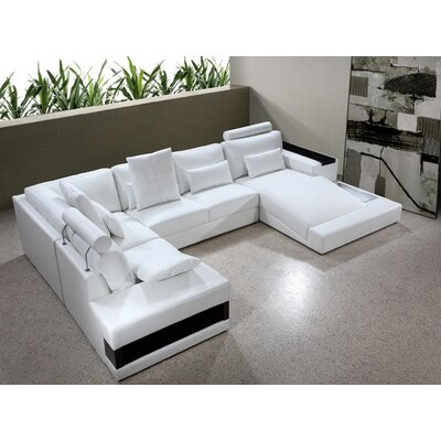 Divani Casa Diamond Leather Sectional Sofa with Light by VIG Furniture