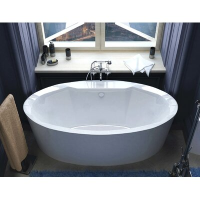 "Salina 68"" x 34"" Oval Freestanding Soaker Bathtub with Center Drain Product Photo"