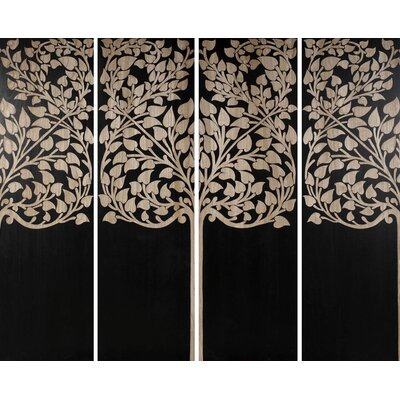 4 Piece Hand Carved Lacquer Ficus Graphic Art Set by BIDKhome