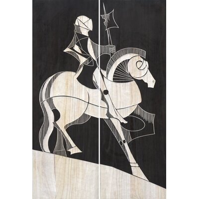 Hand Carved Right-Facing Lacquer Knight 2 Piece Painting Print Set by BIDKhome