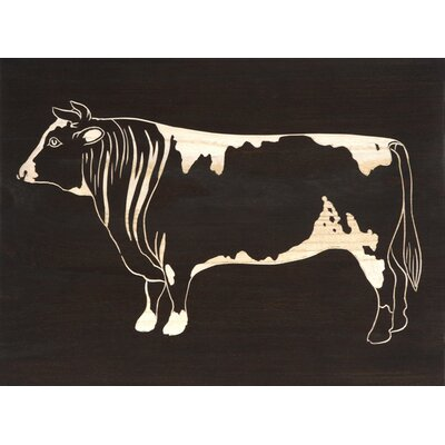 Hand Carved Lacquer Cow Left-Facing Painting Print by BIDKhome