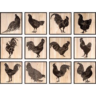 Hand Carved Lacquer Chicken 12 Peice Painting Print Set by BIDKhome