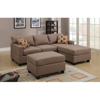 Bobkona Lexington Reversible Chaise Sectional Sofa with Ottoman by Poundex