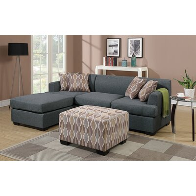 Bobkona Winfred Reversible Chaise Sectional by Poundex