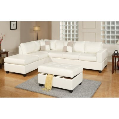 Bobkona Reversible Chaise Sectional by Poundex