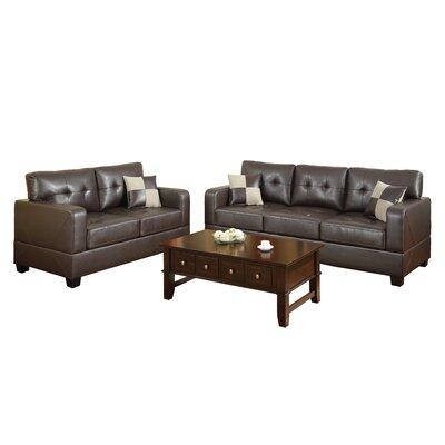 Poundex Bobkona Toni 2 Piece Leather Match Sofa And