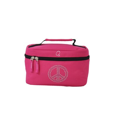 Obersee O3 Kids Bling Rhinestone Peace Toiletry and Accessory Train Case Bag