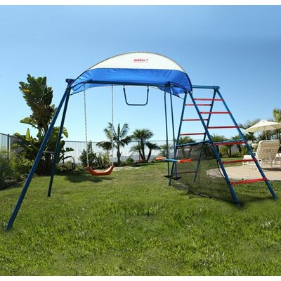Challenge 100 Metal Swing Set with Ladder Climber and UV Protective Sunshade Product Photo