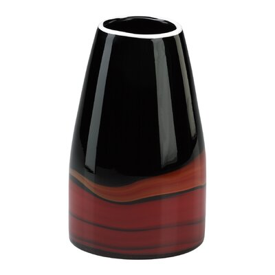 Cyan Design Medium Swirl Vase in Black and Red