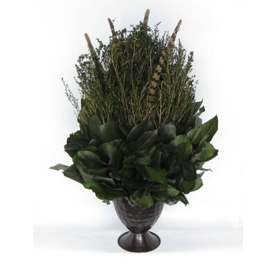 Metal Trophy Small Vase with Forest Tea, Feathers and Salal by Bougainvillea