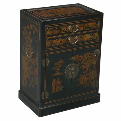 Handmade Oriental Antique Style Black Bonded Leather Wine Cabinet / Bar by EXP Décor