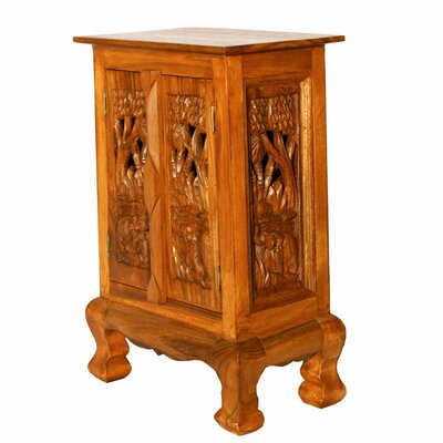"""EXP Décor Handmade 24"""" Royal Elephants Storage Cabinet / Nightstand - Natural Finish"""