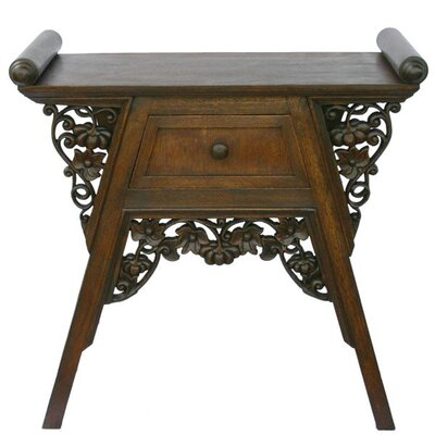 """EXP Décor Handmade 26"""" Carved Teak Wood & Rattan End Table / Nightstand With Dark Finish"""