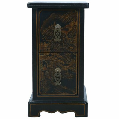 Handmade Oriental Antique Style Black Bonded Leather Accent Table by EXP Décor