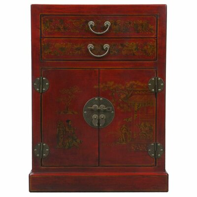 Handmade Oriental Antique Style Red Bonded Leather Wine Cabinet / Bar by EXP Décor