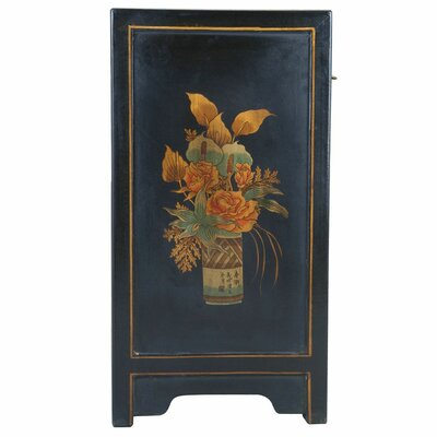 EXP Décor Handmade Oriental Antique Style Black Bonded Leather End Table With Nature Motifs