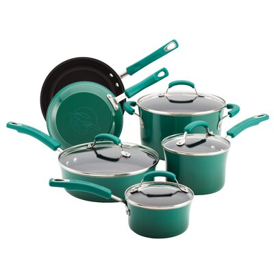 Hard Enamel Nonstick 10 Piece Cookware Set by Rachael Ray