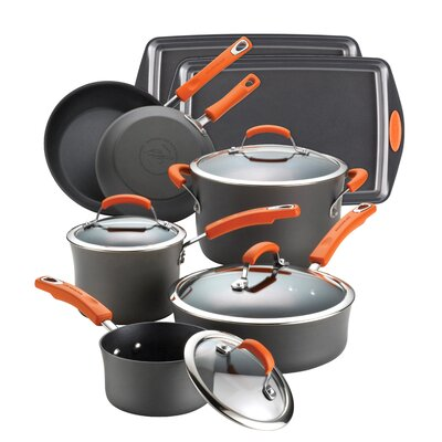 Hard Anodized Nonstick 12 Piece Cookware Set by Rachael Ray