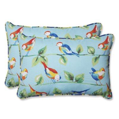 Curious Bird Indoor/Outdoor Lumbar Throw Pillow by Pillow Perfect