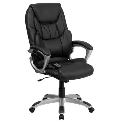Flash Furniture High-Back Leather Massaging Executive Chair with Base