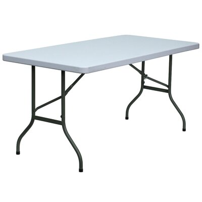 "Flash Furniture 30"" W Blow Molded Plastic Folding Table in Granite White"
