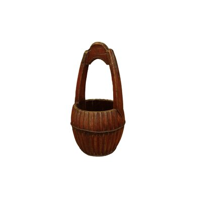 Hand Carved Water Bucket with Wooden Handle by Antique Revival
