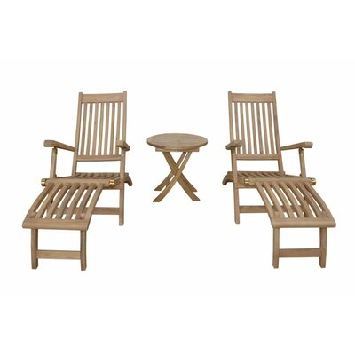 Tropicana Montage 3 Piece Steamer Lounge Chair Set by Anderson Teak
