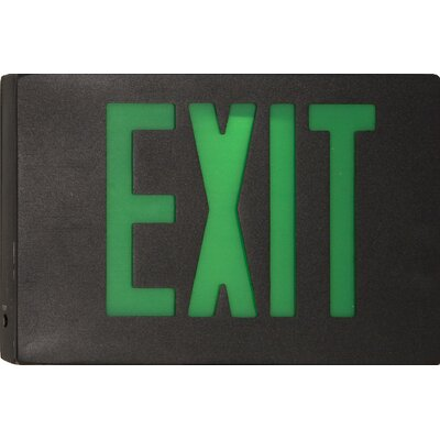 Morris Products Cast Aluminum LED Exit Sign with Green Lettering, Black Housing and Black Face