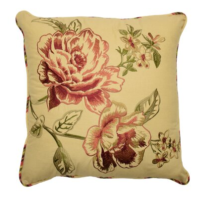Floral Flourish Cordial Embroidered Cotton Throw Pillow by Waverly