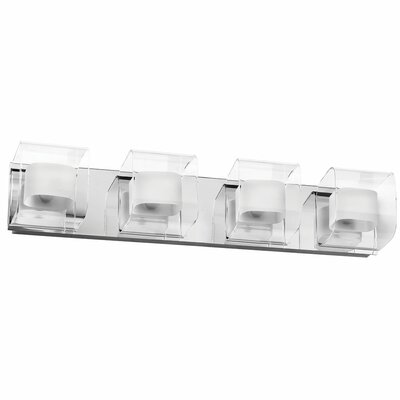 Clear/Frosted Glass 4 Light Bath Vanity Light Product Photo