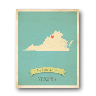 My Roots Virginia Personalized Map Graphic Art on Gallery Wrapped Canvas by Children Inspire ...