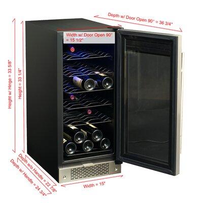 Sunpentown 32 Bottle Single Zone Built-In Wine Refrigerator