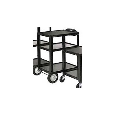 Luxor Open Shelf Fixed Height Table with Big Wheels Casters and Electric