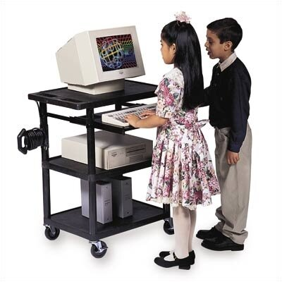 Luxor Workstation with Fixed and Roll-Out Shelf
