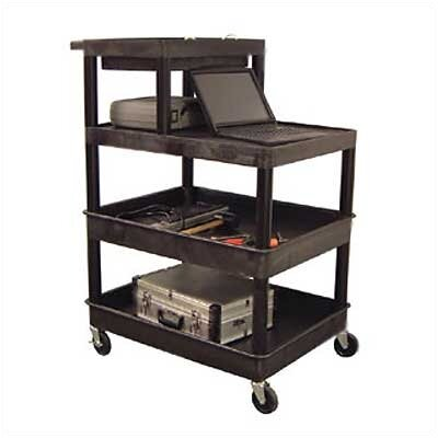 Luxor Stand-Up Tool/Utility Cart with Extra Tub Shelf