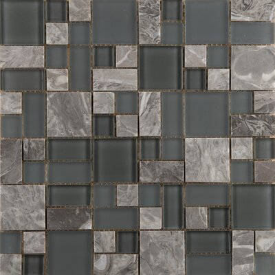 Lucente Random Sized Glass Mosaic Tile in Gray/Brown by Emser Tile
