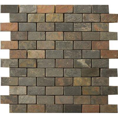 "Emser Tile Natural Stone Brick Joint 1"" x 2"" Slate Mosaic Tile in Multi Rajah"