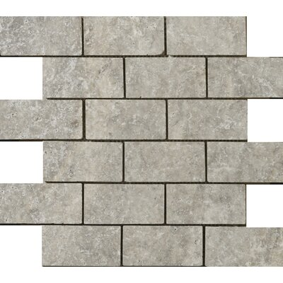 "Emser Tile Natural Stone 4"" x 2"" Travertine Mosaic Tile in Silver"