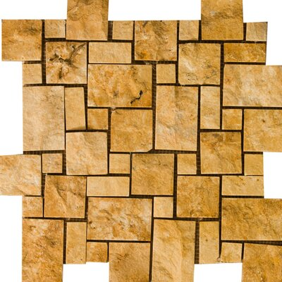 Natural Stone Random Sized Travertine Mosaic Tile in Gold by Emser Tile